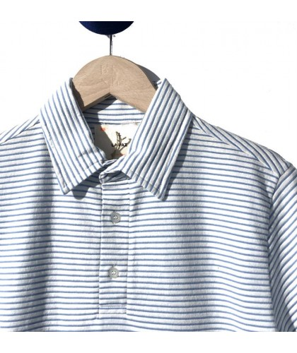 White and blue striped Polo Shirt LA PAZ