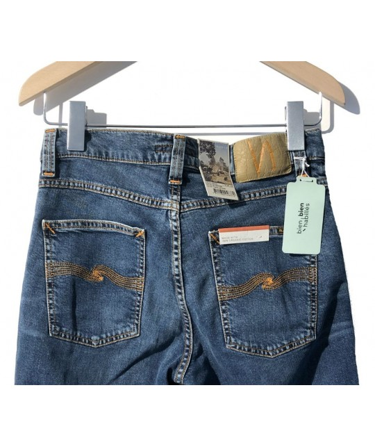 Jean bio Lean Dean Mid Blue Orange NUDIE JEANS