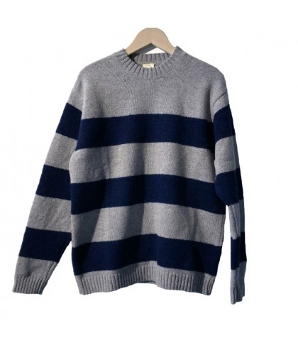 Pull rayé gris et marine lambswool/merino COUNTRY OF ORIGIN