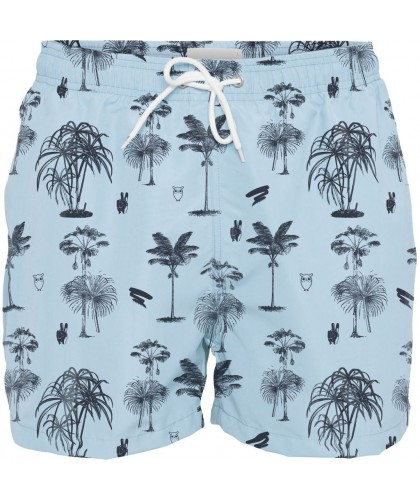 Short de bain recyclé bleu ciel motif palmiers KNOWLEDGE COTTON APPAREL