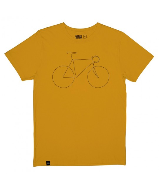 T-shirt brodé moutarde Bicycle DEDICATED
