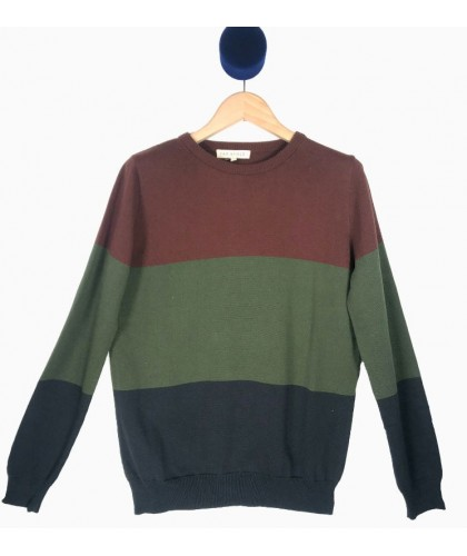 Brown Green and Dark Blue Cotton Sweater FAR AFIELD