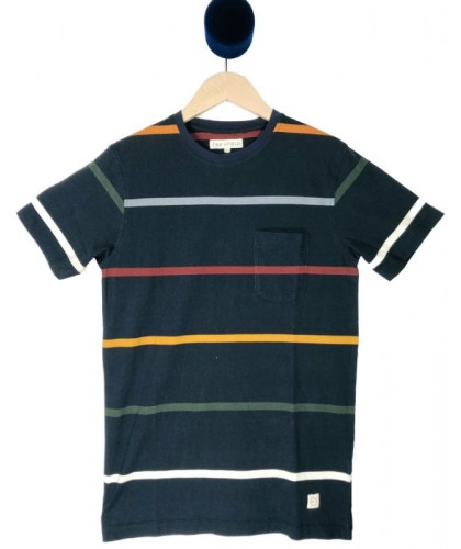 Dark Grey Striped Tee FAR AFIELD