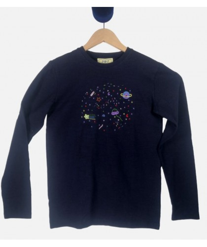 Space Navy Embroidered LS Tee JBJ