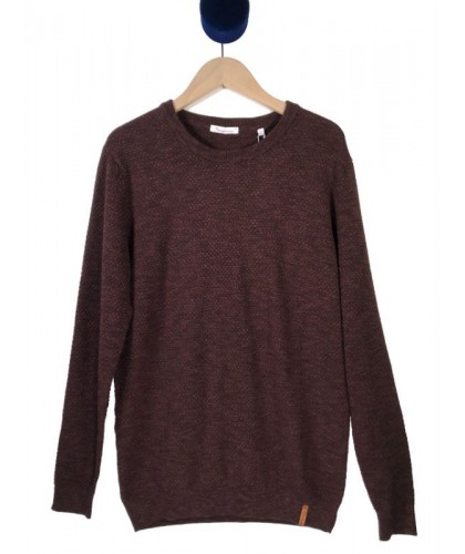 Burgundy Textured Sweater KNOWLEDGE COTTON APPAREL