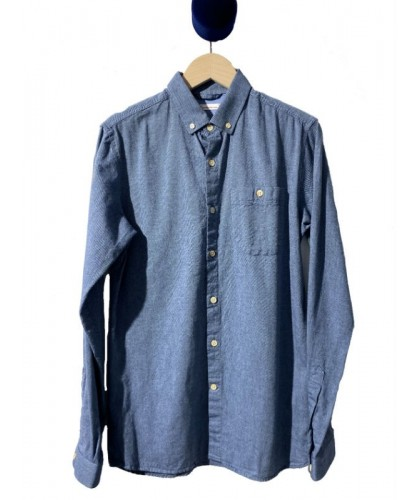 Chemise en flanelle bio bleu denim KNOWLEDGE COTTON APPAREL