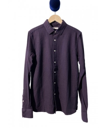 Burgundy and navy textured shirt KNOWLEDGE COTTON APPAREL