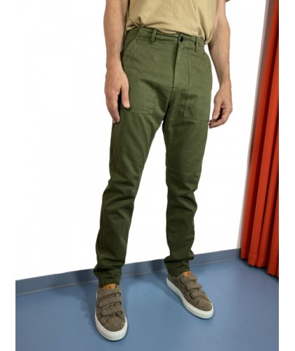 Military Green Herringbone Fatigue Pants COF STUDIO