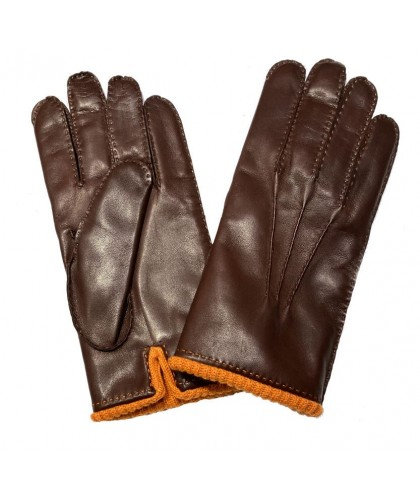 Gants en cuir marron doublés cachemire orange MEROLA