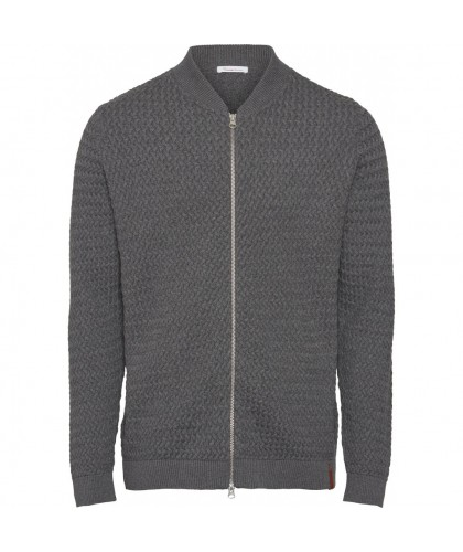 Cardigan gris texturé à zip en coton bio KNOWLEDGE COTTON APPAREL
