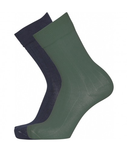 Lot de 2 paires de chaussettes bleu marine et vert KNOWLEDGE COTTON APPAREL