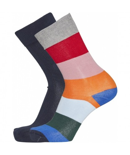 Lot de 2 paires de chaussettes unies et rayées KNOWLEDGE COTTON APPAREL